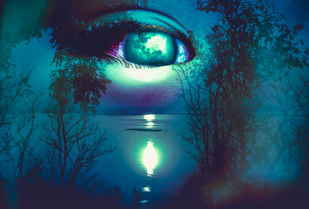 Halloween horror night on blue background. Double exposure portrait of eye combined with silhouette of spooky forest with moon and river.