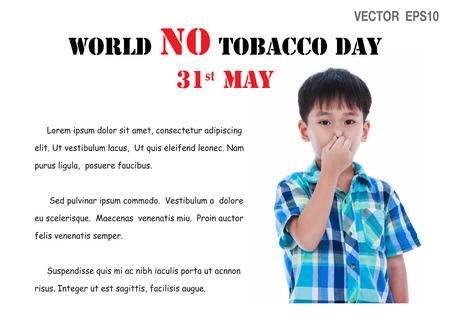 31st: May 31st. World no tobacco day illustration vector EPS10. Asian handsome boy covering his nose. Negative human emotion, facial expression feeling reaction.