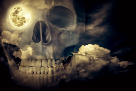 eye socket: Halloween horror night background. Double exposure of human skull combined sky with clouds . Full moon on right eye socket. Vintage style. Stock Photo