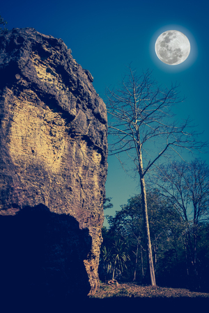 cross process: Boulders against beautiful sky and full moon over tranquil nature. Idyllic rural view of pretty surroundings. The moon taken with my own camera, no NASA images used. Cross process and vintage tone. Stock Photo