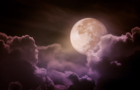 moonbeam: Attractive photo of a nighttime sky with clouds, bright full moon would make a great background. Beauty of nature. Vintage tone. Stock Photo