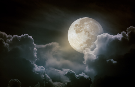 moonbeam: Attractive photo of a nighttime sky with clouds, bright full moon would make a great background. Beauty of nature. Stock Photo