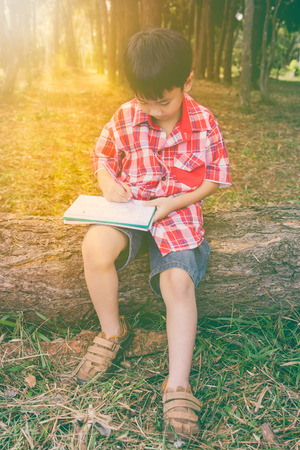 log book: Child use pen to writing on book in park. Outdoors in the day time with bright sunlight. Children read and study, education concept. Warm tone and vintage style.
