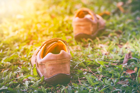 dof: Closeup of a pair of leather shoes on green grass with bright sunlight, shallow depth of field (dof), selective focus. Stock Photo
