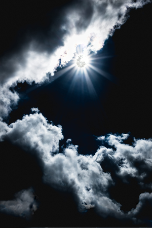 nightly: Attractive photo of a nighttime sky with clouds, bright full moon would make a great background. Nightly sky with moonbeam. Outdoors. The moon were NOT furnished by NASA. Stock Photo