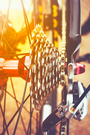 machine teeth: Closeup gear mountain bike wheel detail, disc brake and rear derailleur with bright sunlight. Outdoor at the day time. Stock Photo