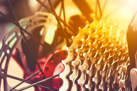 machine teeth: Closeup gear mountain bike wheel detail and disc brake with bright sunlight. Outdoor at the day time.