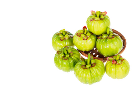 citric: Garcinia cambogia fresh fruit on wood basket, isolated on white. Garcinia atroviridis is a spice plants and high vitamin C and hydroxy citric acids (HCA) for diet and good health.