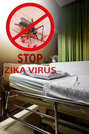sickbed: Zika virus. Clean empty sickbed in a hospital ward with stop mosquito sign. Conceptual about preventing Zika virus danger.