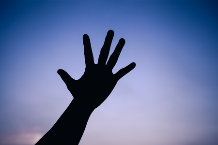 cool colors: Silhouette of a hand on colorful sky background. Symbol is mean to say hi , five , hand up, stop. Outdoors. Outdoor. Cool colors tone photo effect.
