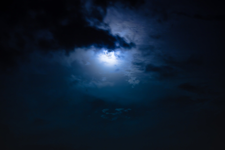 nightly: Attractive photo of background nighttime sky with clouds and moon with shiny. Nightly sky with moon behind cloud. Outdoors at night. The moon were NOT furnished by NASA. Stock Photo