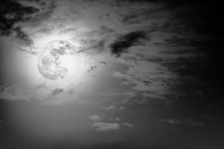 full moon effect: Background of nighttime sky with cloud and full moon with shiny. Natural beauty at night with moon behind cloud in black and white style. Vintage effect tone. The moon were NOT furnished by NASA.
