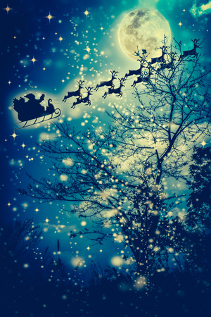 Christmas background. Beautiful winter background of snowy night sky, stars, full moon and dry tree. Silhouette of Santa Claus flying on a sleigh pulled by reindeer. Moon were NOT furnished by NASA. Stock Photo