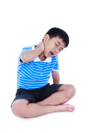 78: Full body of asian child have a neck pain, his hand on neck, emotion feeling sign. Isolated on white background. Boy with a painful gesture. Negative human emotion, facial expression feeling reaction.