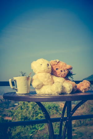 Vintage tone image of two beautiful doll sitting on table with a cup of coffee in the morning, blue sky background. Concept teddy bears couple with love for valentine day. Greeting or gift card design.