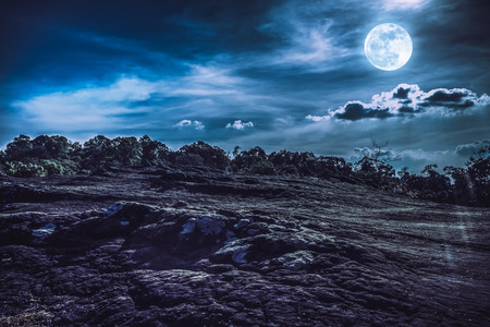 Landscape of night sky with cloudy above wilderness area in forest. Beautiful bright full moon, serenity nature background. The moon taken with my own camera. Stock Photo