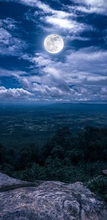 曇り、牧歌的な山の風光明媚なポイントから望む夜の空の風景です。美しい明るい満月、セレニティ自然。垂直パノラマの組成物。私のカメラで撮