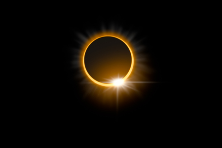 Total solar eclipse with diamond ring effect glowing, isolated on black background.