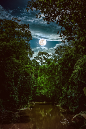 Landscape of blue sky with clouds and full moon over serenity nature in forest, dark tone. Tranquil river and trees in the evening at national park. The moon taken with my own camera.