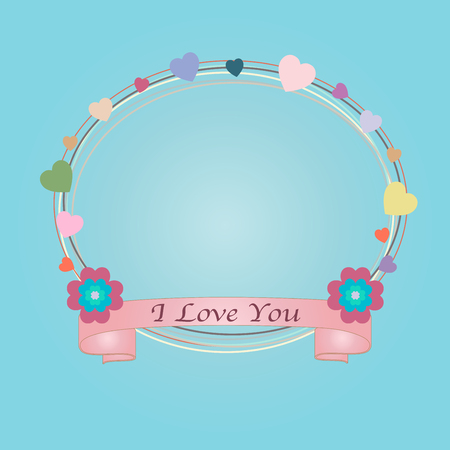 Abstract valentines day card with text I Love You on blue background for your design. Note paper with ribbon, heart and floral vector illustration.