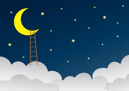 Bel cielo surreale con falce di luna e scale. Incredibile cielo notturno blu scuro con molte stelle. Illustrazione vettoriale.