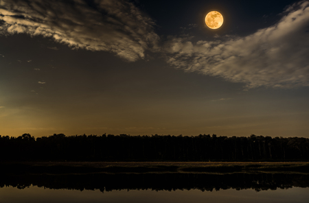 Beautiful landscape of night sky with cloud and bright full moon above silhouettes of trees at seaboard. Serenity nature background, outdoor at nighttime. The moon taken with my camera. Stock Photo