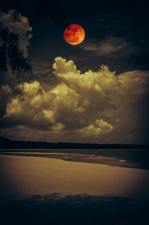 Beautiful landscape view on seascape to night. Attractive red full moon or blood moon on dark sky with cloudy. Serenity nature background. Vintage film filter effect. The moon taken with my camera.