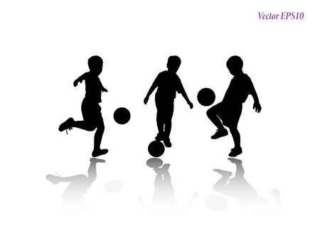 Soccer players silhouettes of kids collection. Full body of child in sportswear playing football. Different poses. Isolated on white background. Vector illustration. EPS10 Ilustração