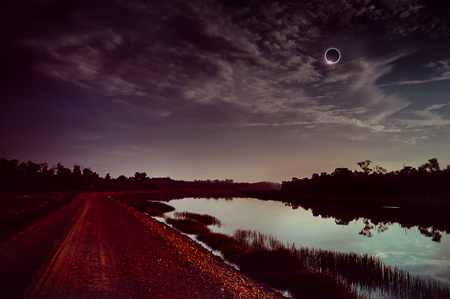 Amazing scientific natural phenomenon. The Moon covering the Sun. Total solar eclipse with diamond ring effect glowing on sky above silhouettes of trees. Serenity nature background.