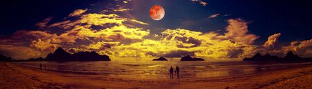 Beautiful panorama view of the sea. Colorful blue sky with cloud and bright full moon on seascape to night. Serenity nature background, outdoor at nighttime. The moon were NOT furnished by NASA.