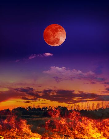 Moon eclipse. Landscape of night sky with blood moon above the fire is burning the meadow. Stock Photo