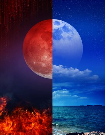 The super blood moon above the fire and the super moon above the sea.