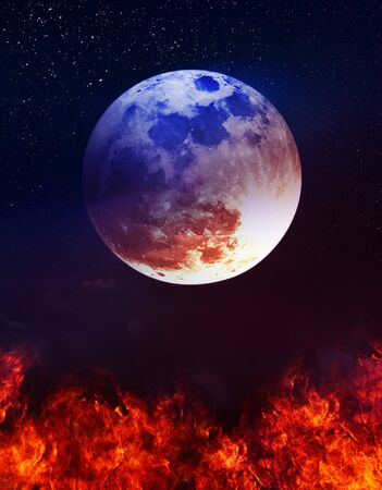 Photo Manipulation. Colorful skyscape with many stars. Landscape of night sky with super moon above the fire. Stock Photo