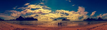Beautiful panorama view of the sea. Colorful blue sky with cloudy on seascape. Serenity nature background.