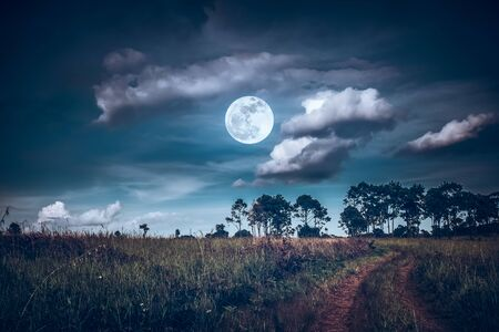 Landscape of dark night sky with clouds.
