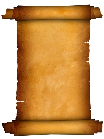 Scroll of parchment.Antique background. Stock Photo