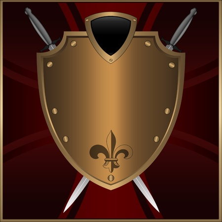 Golden shield with swords on a maltese cross background