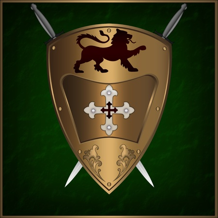 shield and sword: Abstract golden shield with cross and heraldic lion  Stock Photo
