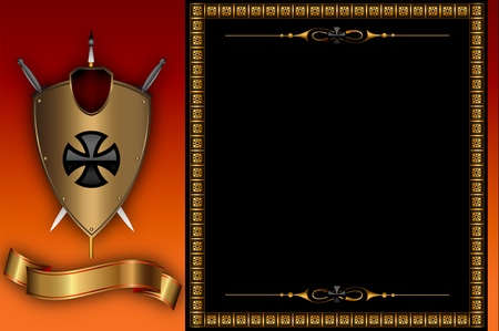Decorative background with golden frame and others elements  photo
