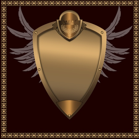 Abstract golden shield with crown and wings  photo
