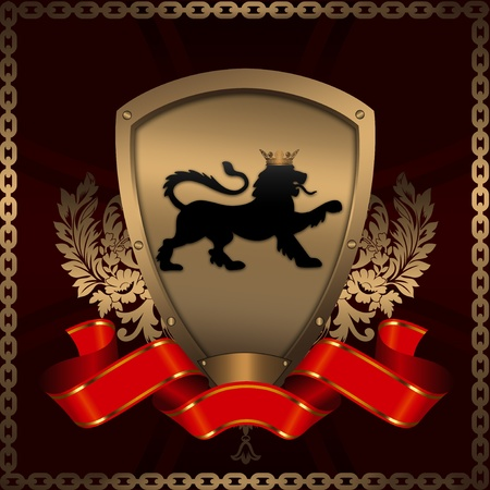 Decorative background with golden shield and heraldic elements  photo