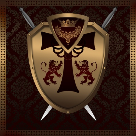 heraldic shield: Decorative background with golden shield and heraldic elements