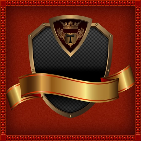 Golden shield and golden ribbon Decorative background  photo