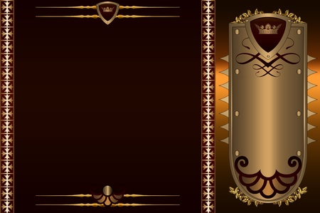 Vintage background with decorative golden elements and patterns  photo