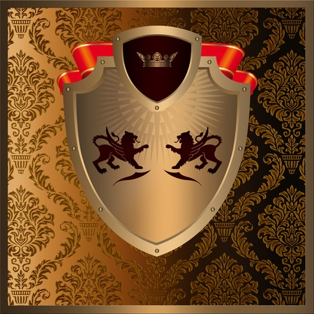 Golden decorative background with heraldic elements and patterns photo