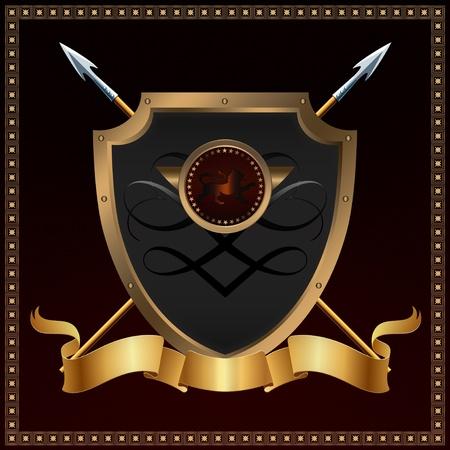 Shield and golden ribbon. Stock Photo - 12704012