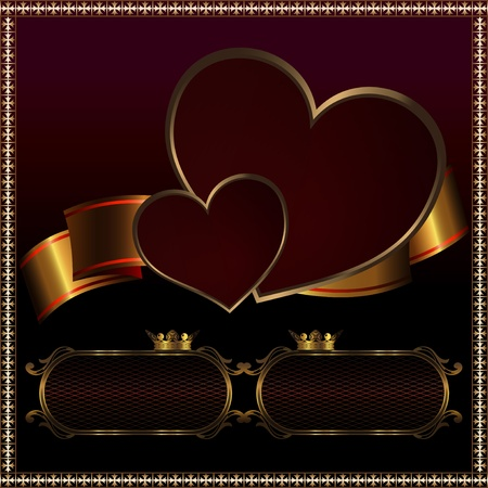 Elegant background with two hearts and golden ribbon. photo