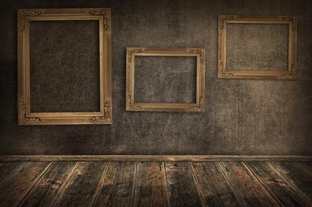 Three vintage frames on the wall  Stok Fotoğraf