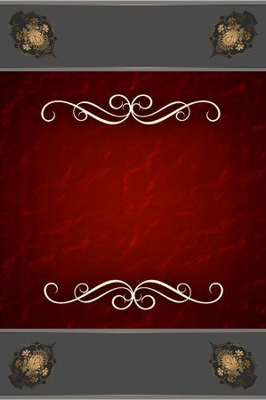 Decorative red background with elegant patterns photo