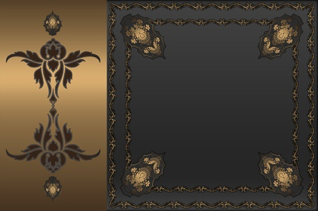 Decorative background with golden floral frame  photo